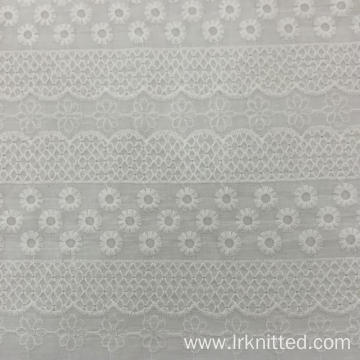 White 100% Cotton Embroidered Fabric