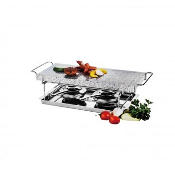 Hot Cooking Stone Griller with dual Rechauds
