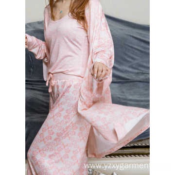 Viscose flower print short robe and pajama set