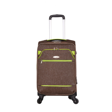 Waterproof brown fabric trolley luggage