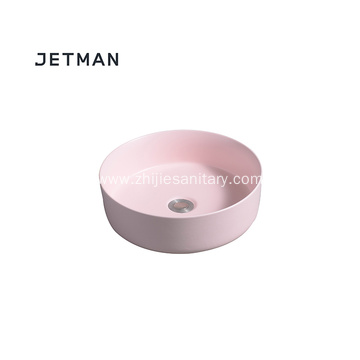 Pink color sink art basin ceramic