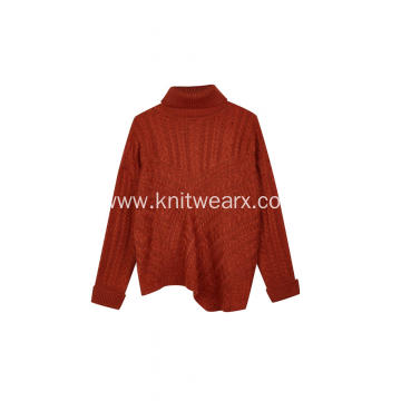 Women's Knitted Turtleneck Cable Asymmetric Hem Pullover
