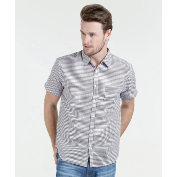 100%Cotton Yarn Dye Checker Short Sleeve Shirts