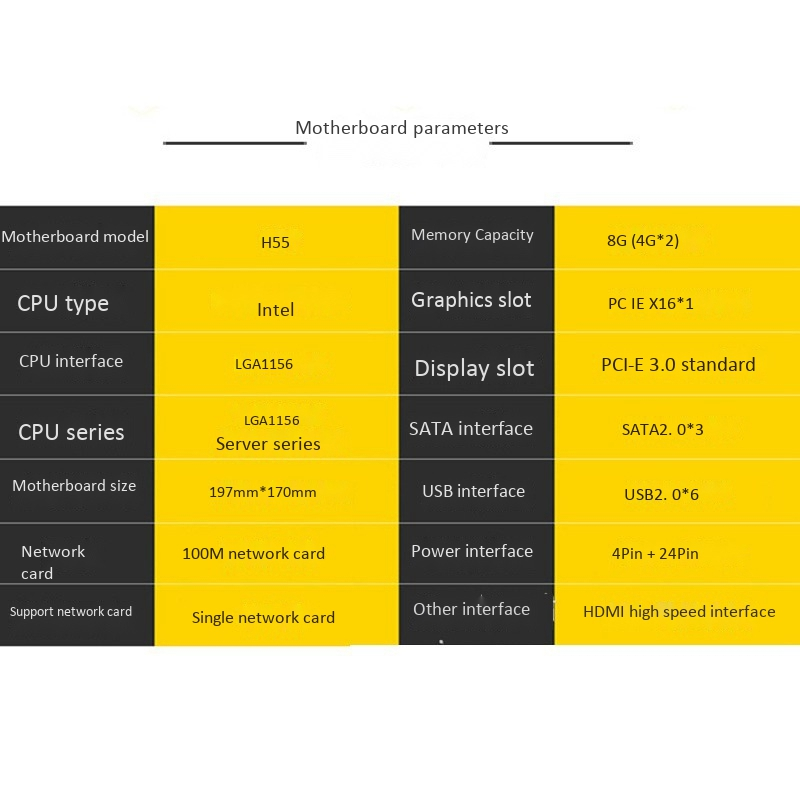 H55 Motherboard LGA1156 DDR3 Supports 8G SATA2.0 PCI-E X16 for LGA1156 Server Series