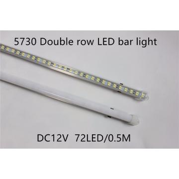 5pcs/lot 72leds 5730 led Bar Light Hard Rigid strip Double Row Non waterproof 12V 12mm PCB 72leds/0.5m more bright then 5630