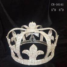 Fashion full round pageant crowns for king