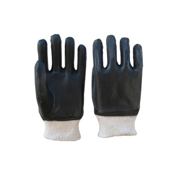 Black knit wrist with flannelette gloves