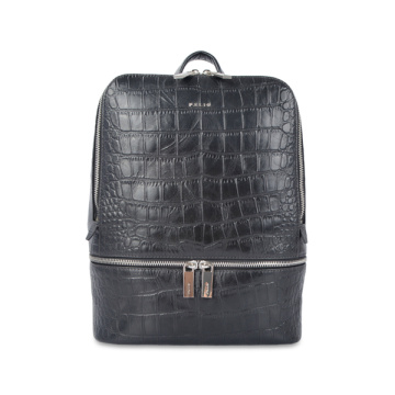 Crocodile Effect City Backpacks Black Embossed Daypack
