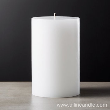white unscented paraffin wax pillar candles