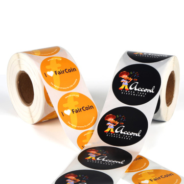 Custom Round Printed Clear Gloss Logo Labels Roll