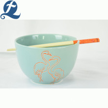 Hot sale popular fashion style decal ceramic bowl with chopsticks