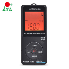 HanRongDa HRD-767 FM/AM/AIR Multi Band Radio Aircraft Band Radio Receiver Blacklit LCD Display Lock Button with Headphones