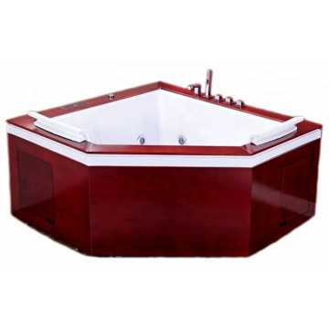 Triangle Massage Jets Bath Bathtub with Wooden Skirt