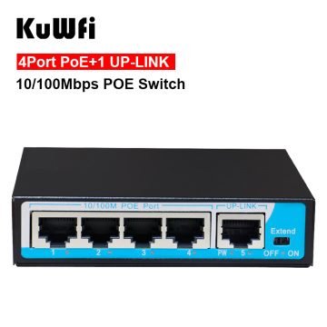 KuWFi 10/100Mbps Mini 4 POE Port+1 Uplink POE Switch Fast Ethernet Network Switch Full/Half duplex exchange AC Power Adapter