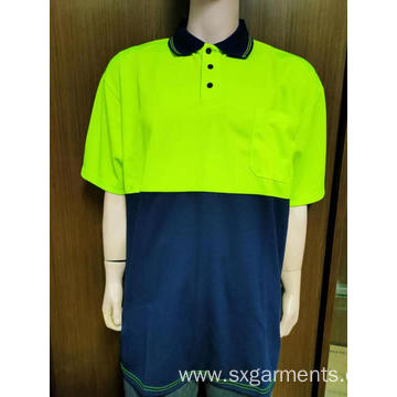 Men's pique safety polo shirt short sleeve