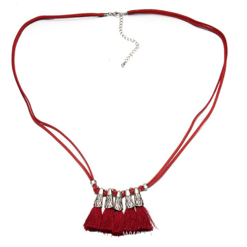 Leather Cord Necklace Alloy Tassel Necklaces For Women