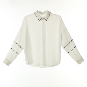 Beads Attached Polyester Long Shirts