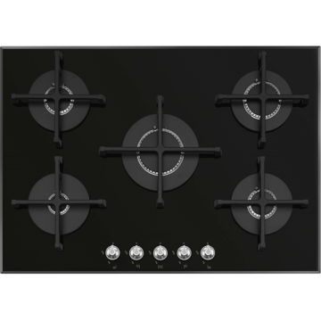 Smeg Gas Cooktops Black Glass 5 Rings