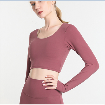 new yoga crop top long sleeve shirt