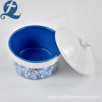 Wholesale Custom Blue Printed 4 Inch Round Ceramic Stoneware Cake Cup with Lid