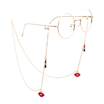 Fashion Eyeglass Chains for Women Lipstick Sunglasses Chains Glasses Cord Holder Gold Eyewear Lanyard Necklace Strap Rope