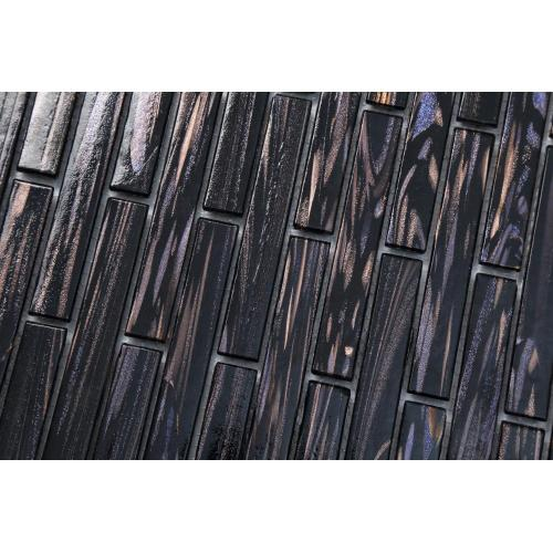Black Glass Mosaic Wall Tiles For Hotel Lobby