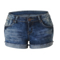 Elastic Roll Edge Hot Pants Ripped Denim Shorts Women Jeans