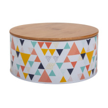Metal Biscuit Tin with Bamboo Lid