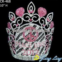 Large rhinestone peace crowns