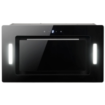 90cm Black Glass Canopy Cooker Hood