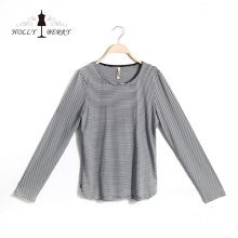 New Design Breathable White Crew Neck Women Blouse