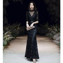 Women Black Elegant Evening Party Dress Exquisite Appliques Sequins Trim Banquet Gown Temperament Mermaid Prom Dresses XS-3XL