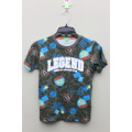 Boy's 100% Cotton All Over Print T-Shirt with Flocking Print