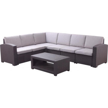 5 Seaters L Shape Outdoor Plastic Sofa Set