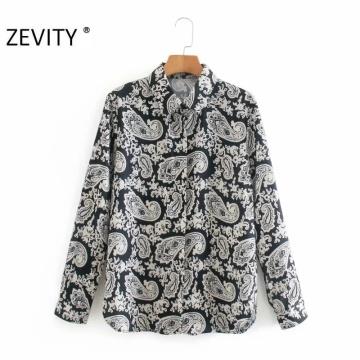 Zevity New Women Vintage Paisley Flower Print Casual Blouse Office Ladies Cashew Nut Shirt Business Roupas Femininas Tops LS7284