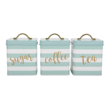 Tea Sugar Coffee Canister Set 3 Kitchen