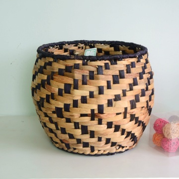 Round black water hyacinth woven basket