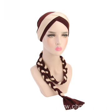 Muslim bandanas hat polyester crochet turban for women
