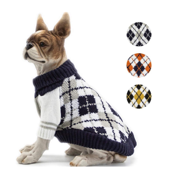 Dog Sweater Plaid Warm Clothes