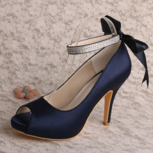 Ankle Strap Navy Blue Satin Shoes for Party