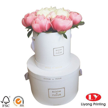 White round flower box luxury with lid