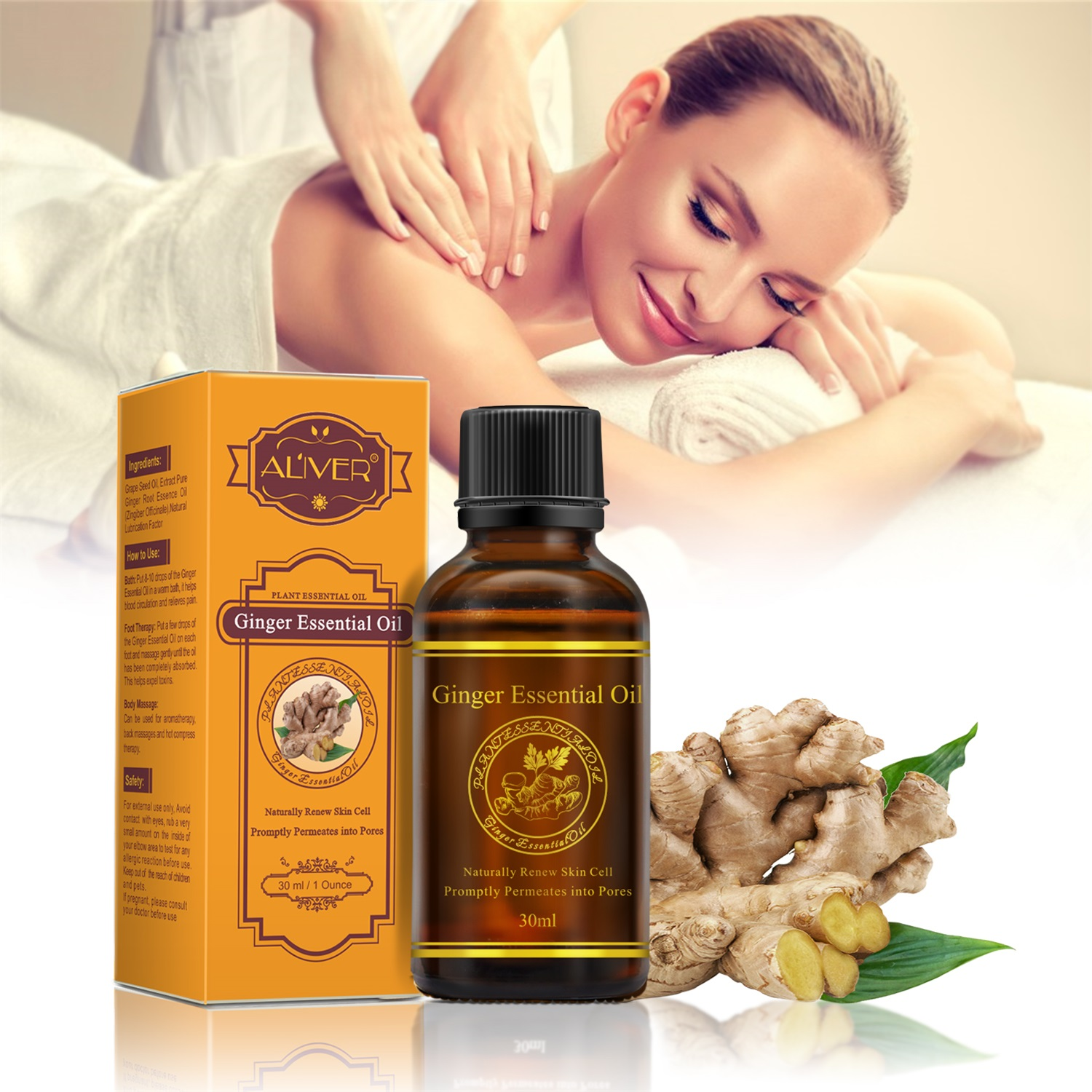 2/1Pcs Ginger Essential Oils Body Spa Massage Oil Relief Stress Relax Body Elimination of Fat Ginger Oil 30ml TSLM2