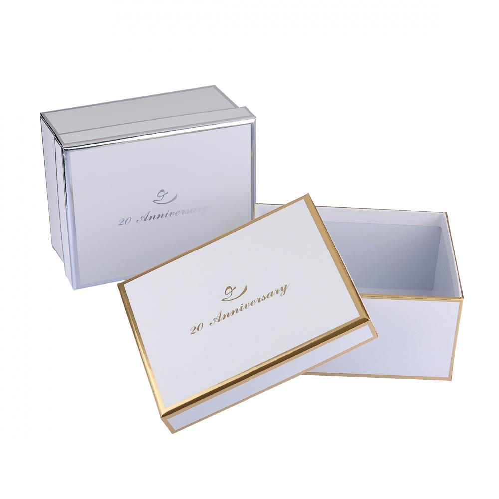 White Chipboard Apparel Packaging Box With Black Foil