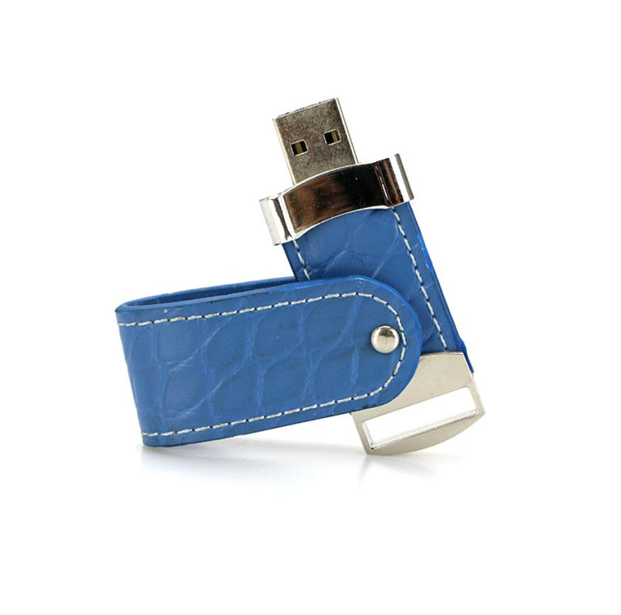 blue leather usb flash drive 1