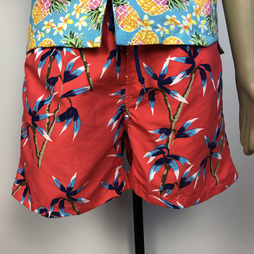 Summer thin quick-drying men plant patterned red board shorts