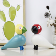 Nordic Denmark Wooden Bird Figurines Wood Carving Puppet Colorful Painted Sculpture Figure Animal Ornaments for Home Decoration