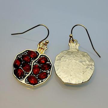 Milangirl Vintage Fruit Fresh Red Garnet Earrings Pendant Necklace Resin Stone Pomegranate Jewelry for Women