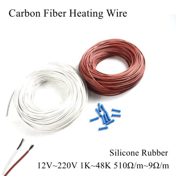 5V 12V 24V 36V 48V 110V 220V Carbon Fiber Heating Cable Silicone Rubber Heat Wire Warm Floor Water Pipe Roof Sewer Snow Car Auto