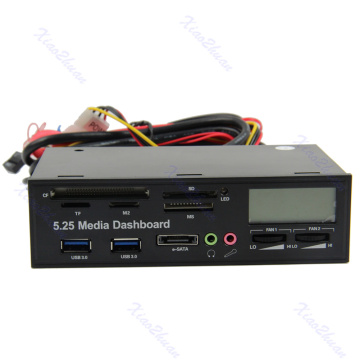 NEW USB 3.0 All-in-1 5.25 Muiti-function Media Dashboard Front Panel Card Reader