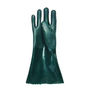 Green PVC coated gloves 14''